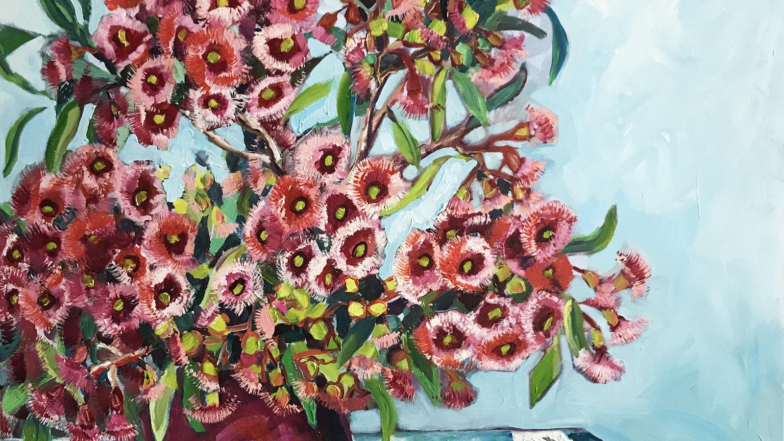 Ali Wood, Flowering Gum. Oil on canvas, 90 x 90cm.