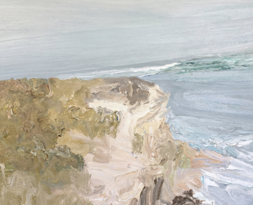 David Wiggs, Manly ferry passing Dobroyd – Plein air. Oil on canvas, 100 x 150cm.