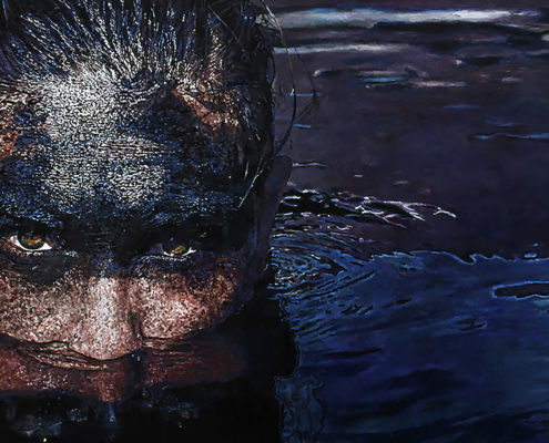 Jeska Valk, Oil Slick. Oil on wood, 100 x 131cm.