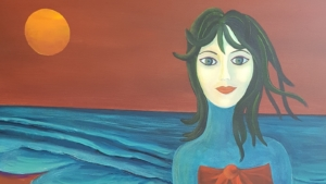 Michele Rudder, The Sea Coming Out Trying to Understand Humanity. Acrylic on canvas, 90 x 90cm.