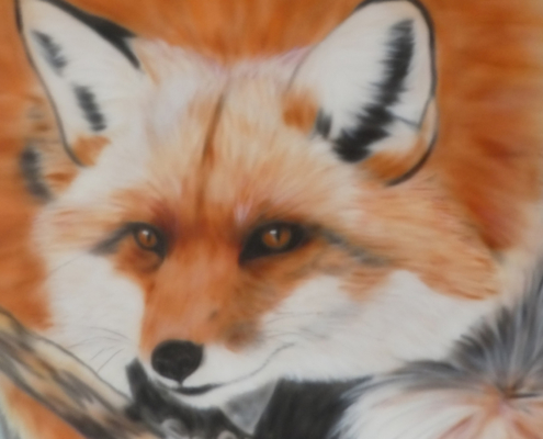 Sharen-Lee McLachlan, KITSUNE. Ink airbrushed on canvas, 120 x 100 x 2cm.