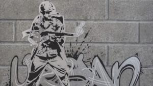 Thcat, Urban Soldier. Acrylic and mixed media, 50 x 50cm.