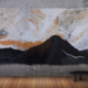 Zetta Kanta, High Country Sunrise. Wool, silk, black bamboo and raw fleece, 173 X 380cm.