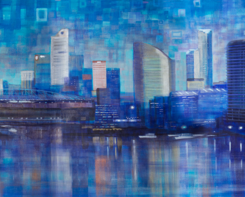 Jennifer Webb, Docklands. Acrylic on linen, 91.5 x 183cm.
