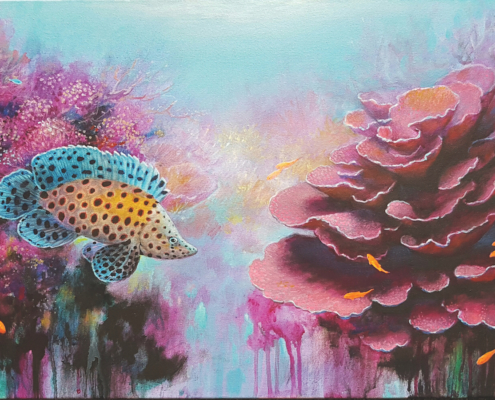 Eugene Rubuls, Pink Corals. Acrylic on canvas, 45.5 x 91.5cm.
