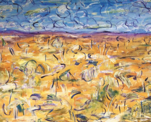 Meg Vivers, Summer Winds. Acrylic and oil on sheet canvas, 64 x 94cm.