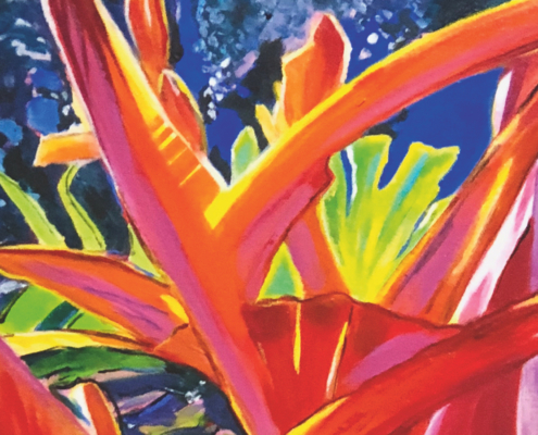 Sylvia Ditchburn, Tropical Garden with Crab Claw. Acrylic on canvas, 61 x 45cm.